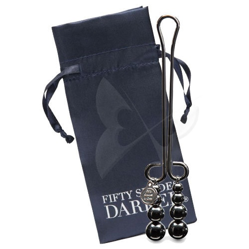 Fifty Shades Darker Just Sensation Beaded Clitoral Clamp Satin Bag