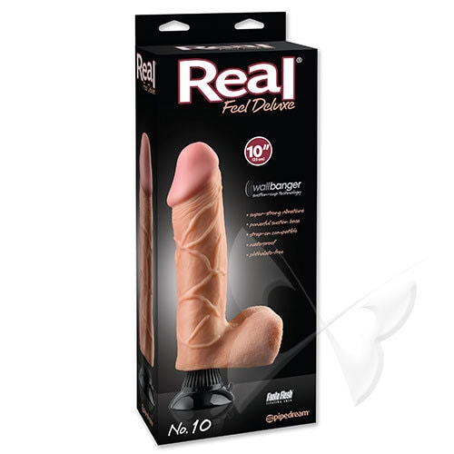 Real Feel Deluxe 10 Inch Flesh Realistic Vibrator Box