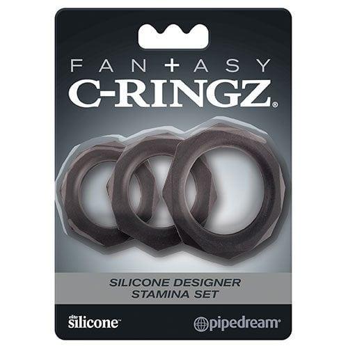 Fantasy C-Ringz Silicone Designer Stamina Set Black Cock Ring Set Packaging