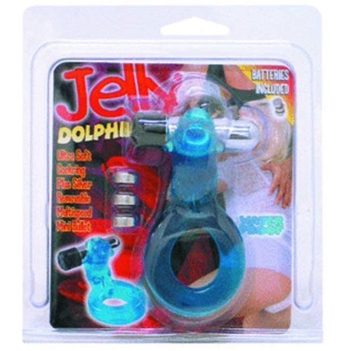 Jelly Dolphin Ultra Soft Cock Ring With Removable Bullet (Blue) Box