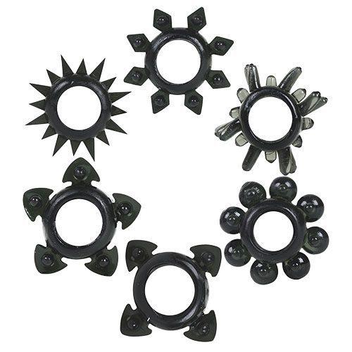 Tower Of Power 6 Cock Rings (Black)