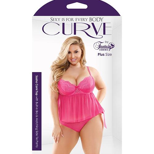 Fantasy Lingerie | Curve | Sasha Cami Top & Side Tie Panty 3X-4X