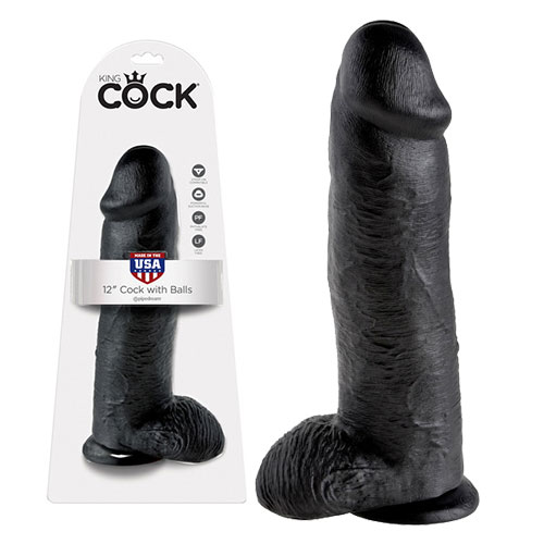 King Cock 12 Inch Cock With Balls (Black) | Realistic Dildos