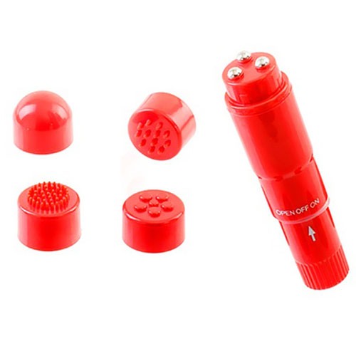 Pocket Rocket Pleasure Vibrator (Red) With 4 Head Attachments