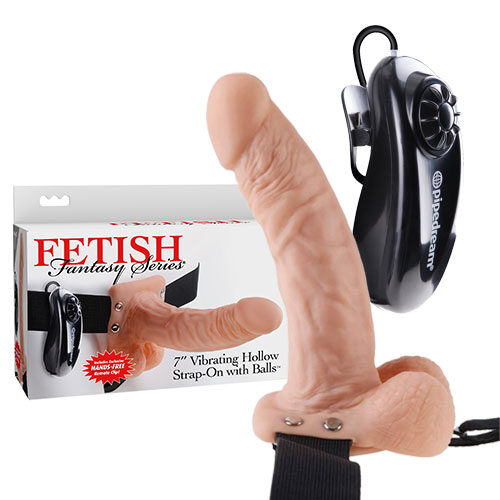 7 Inch Vibrating Hollow Strap-On with Balls (Light) | Strap-Ons