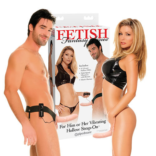 8 Inch Vibrating Hollow Strap-On (Light) | Unisex Strap-Ons